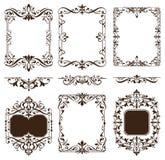 Os ornamento do vintage projetam as etiquetas brancas dos cantos do quadro dos freios do fundo dos arabescos florais dos elemento ilustração stock