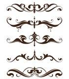 Os ornamento do vintage projetam etiquetas florais dos cantos do quadro dos freios dos arabescos dos elementos Foto de Stock