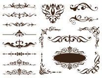Os ornamento do vintage projetam etiquetas florais dos cantos do quadro dos freios dos arabescos dos elementos Fotografia de Stock Royalty Free