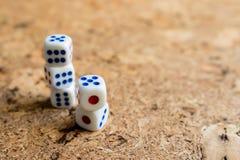 Os ossos brancos jogados na tabela com uma cortiça marrom terminam Imagens de Stock