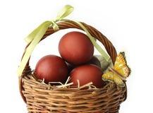 Os ovos coloridos vermelhos e uma borboleta em uma cesta Imagens de Stock
