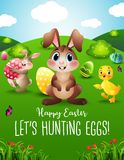 Os ovos da páscoa da caça do coelhinho da Páscoa com um patinho pequeno na mola ajardinam Fotografia de Stock