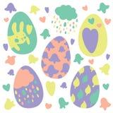 Os ovos da páscoa coloridos rabiscam decorações ajustadas Apenas chovido sobre Cores brilhantes Grande para o cartão, tela, ideia foto de stock