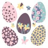 Os ovos da páscoa coloridos rabiscam decorações ajustadas Apenas chovido sobre Cores brilhantes Grande para o cartão, tela, ideia imagem de stock