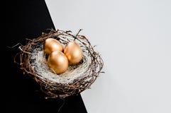 Os ovos da páscoa dourados nos pássaros aninham-se sobre o fundo rústico Copyspace do fundo do sumário do conceito do feriado da  imagens de stock