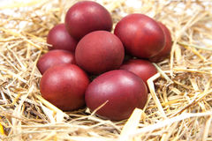 Os ovos da páscoa em uma palha aninham-se no fundo de madeira rústico E feliz Fotos de Stock