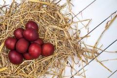 Os ovos da páscoa em uma palha aninham-se no fundo de madeira rústico E feliz Foto de Stock Royalty Free