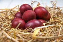 Os ovos da páscoa em uma palha aninham-se no fundo de madeira rústico E feliz Imagens de Stock Royalty Free