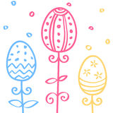 Os ovos da páscoa entregam o ornamento tirado da garatuja, linha teste padrão sem emenda, ilustração do vetor Imagens de Stock Royalty Free
