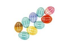Os ovos da páscoa estão na roupa multi-colorida laçado isolada Fotos de Stock Royalty Free