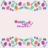 Os ovos da páscoa, flores entregam tirado em um fundo branco Easter feliz! Imagens de Stock Royalty Free