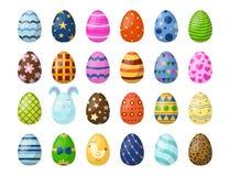 Os ovos da páscoa pintados com mola modelam a multi ilustração colorida do vetor do jogo do feriado do alimento biológico