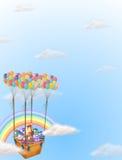 Os ovos da páscoa coloridos levaram por um grupo de balões Imagens de Stock Royalty Free