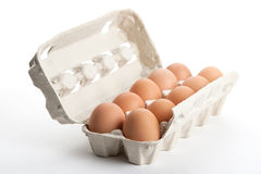 Os ovos de galinha no bloco fotografia de stock
