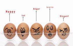 Os ovos denominam com texto emocional Foto de Stock Royalty Free