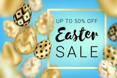 Os ovos dourados da venda da Páscoa projetam o azul ilustração royalty free
