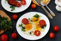 Os ovos mexidos com tomates de cereja são ficados situados em uma placa branca em um fundo escuro, a foto lá cozeram beringelas,  imagens de stock royalty free