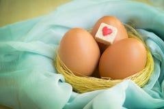Os ovos no ninho dourado com coração vermelho assinam foto de stock royalty free