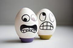 Os ovos são caras engraçadas Foto para o seu Fotografia de Stock Royalty Free