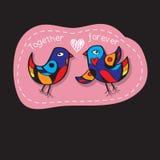 Os pássaros acoplam-se no amor Grande ilustração para cartões, convite do casamento e outras necessidades gráficas Imagens de Stock Royalty Free
