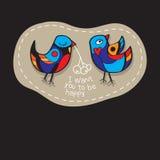 Os pássaros acoplam-se no amor Grande ilustração para cartões, convite do casamento e outras necessidades gráficas Imagens de Stock