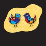 Os pássaros acoplam-se no amor Grande ilustração para cartões, convite do casamento e outras necessidades gráficas Fotografia de Stock