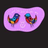 Os pássaros acoplam-se no amor Grande ilustração para cartões, convite do casamento e outras necessidades gráficas Fotos de Stock Royalty Free