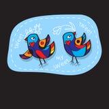 Os pássaros acoplam-se no amor Grande ilustração para cartões, convite do casamento e outras necessidades gráficas Fotos de Stock