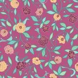 Os pássaros cor-de-rosa no teste padrão sem emenda das rosas vector o fundo ilustração royalty free