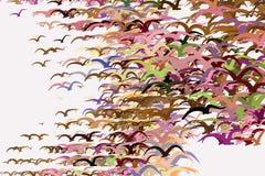 Os pássaros de voo abstraem para entregar o fundo, a textura ou o contexto tirado Papel de parede, detalhes, vetor & projeto ilustração do vetor