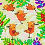 Os pássaros pequenos cantam canções. Textura sem emenda. Fotografia de Stock Royalty Free