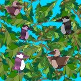 Os pássaros pequenos cantam canções. Textura sem emenda. Imagens de Stock Royalty Free