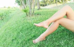 Os pés da mulher relaxam o sentimento no fundo da grama verde com luz de Fotos de Stock