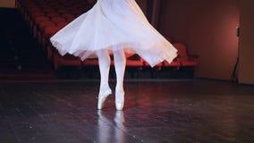 Os pés das bailarinas que giram e que fazem sua saia longa fluir durante o pointe pisam HD filme