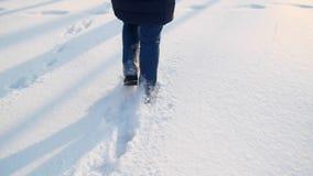 Os pés do ` s das mulheres atravessam a câmera do parque do inverno seguem-na filme