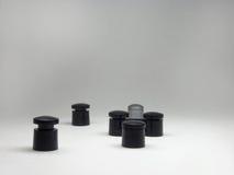 Os pés e o topo das cremalheiras para discos, agrupadas intrincadamente Fotos de Stock