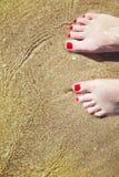 Os pés pedicured da mulher com verniz para as unhas vermelho nos dedos do pé na areia na água imagem de stock