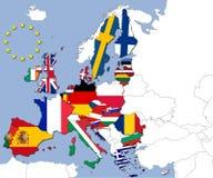 Os 28 países da União Europeia Fotografia de Stock Royalty Free