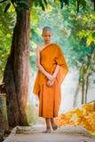 Os padres budistas praticam andar a prática que ajusta a respiração foto de stock