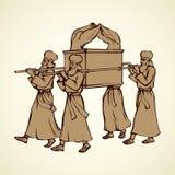 Os padres levam a arca Desenho do vetor ilustração do vetor