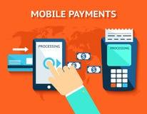 Os pagamentos móveis e aproximam uma comunicação do campo, NFC Fotografia de Stock Royalty Free