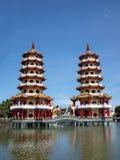 Os Pagodas do tigre e do dragão foto de stock