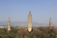 Os pagodes pagodes famosos de China em três em Dali, província de Yunnan Imagem de Stock Royalty Free