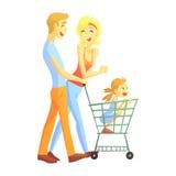 Os pais novos com compra da menina, famílias loving felizes com as crianças que passam o fim de semana Vector junto a ilustração ilustração do vetor