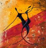 Os pares africanos dançam na arte finala digital da lona de pintura do assoalho ilustração stock