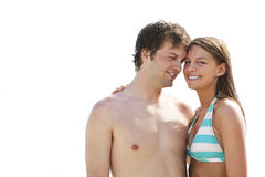Os pares bonitos em férias da praia isolaram-se Fotografia de Stock Royalty Free