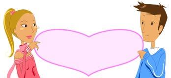 Os pares com coração vazio etiquetam 2 - ilustração vectorial Fotos de Stock Royalty Free