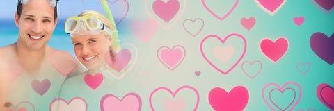 Os pares com ` s do Valentim amam corações da transição e engrenagem da natação imagem de stock