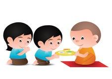 Os pares dão o alimento ao projeto da versão dos desenhos animados da monge ilustração royalty free