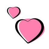 Os pares de coração cor-de-rosa esboçaram a ilustração do vetor dos ícones Fotos de Stock Royalty Free